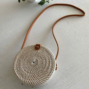 NEW - Round Rattan Bag with long leather strap